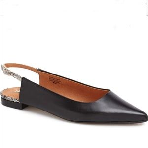 Halogen Black Leather Pointed Toe Sling Back Flats